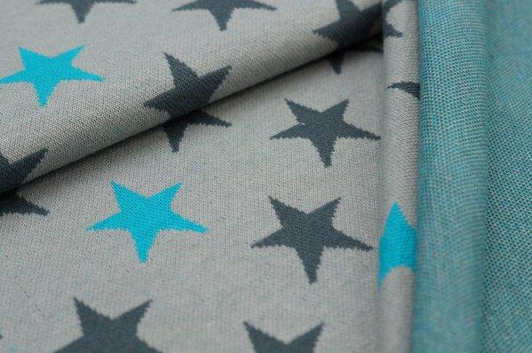 Jacquard-Sweat Ben dunkelgraue und türkise Sterne auf hellgrau