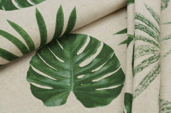 Canvas-Stoff Dekostoff in Leinenoptik, große Blätter grün auf natur