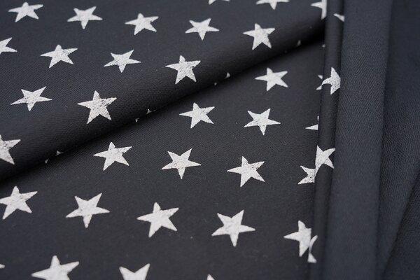Baumwoll-Sweat weiße Sterne auf navy dunkelblau