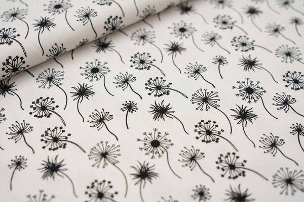 Baumwollstoff Pusteblumen weiß / schwarz