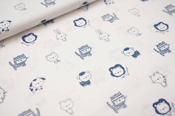 Baumwolle kleine Tiere weiß / taupe blau Katze Hund Bär Hase Tiger Löwe Schaf