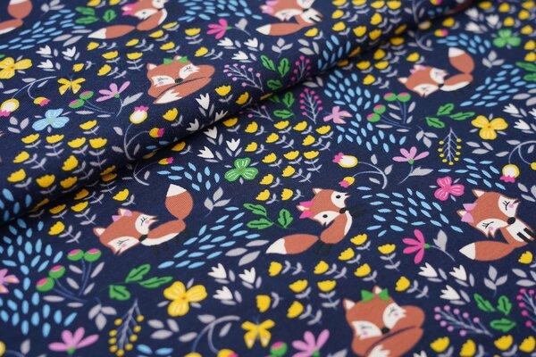 Baumwoll-Jersey Füchse Blumen und Schmetterlinge auf sehr dunkelblau Fuchs