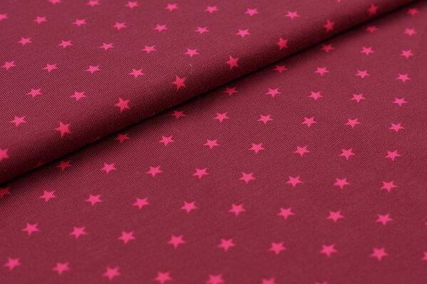 Baumwoll-Jersey kleine Sterne bordeaux rot / pink