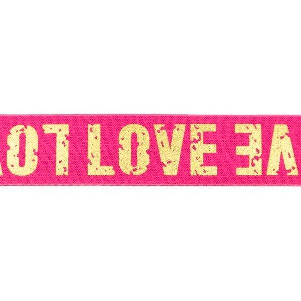 Breites Gummiband pink mit goldenem LOVE Schriftzug 40 mm