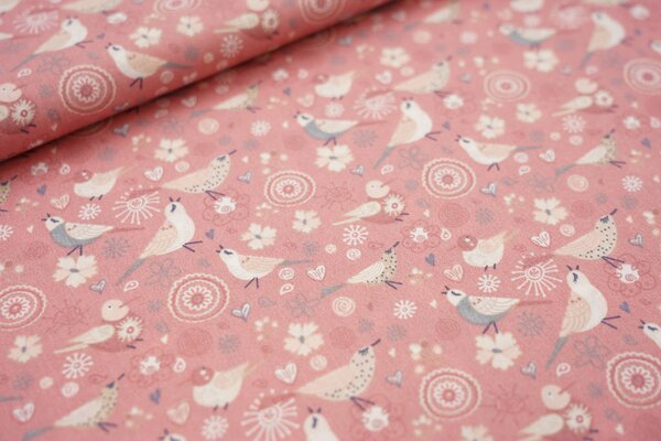 Baumwolle Singvögel mit Blumen und Herzen pastell altrosa / lachs / grau / weiß