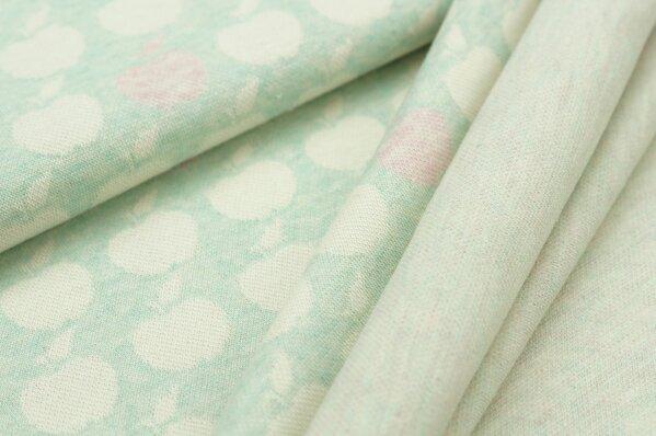 Jacquard-Sweat Mia off white und pastell rosa Äpfel auf pastell mint Melange