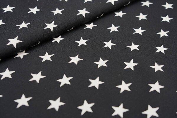 Baumwoll-Sweat große Sterne schwarz / weiß