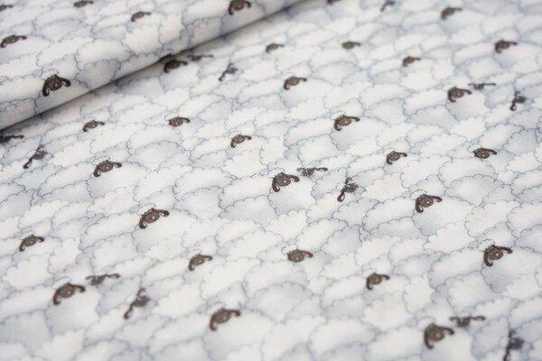 Musselin Stoff Double Gauze Schäfchenwolken weiß / grau / braun Schafe
