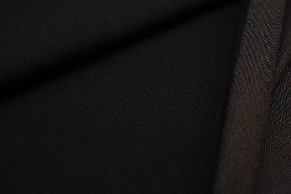 Jacquard-Sweat Ben schwarz Uni schwarz und taupe brauner Rückseite