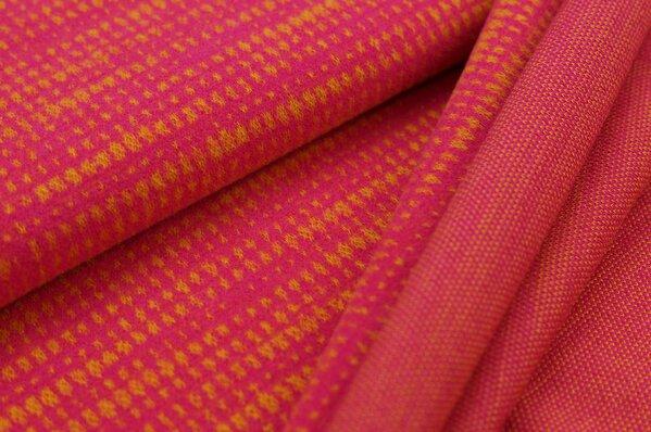 Kuschel Jacquard-Sweat Max Kästchen Muster amarant pink / senf