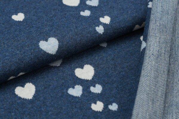Jacquard-Sweat Mia pastell hellblau / off white Herzchen auf navy blau melange