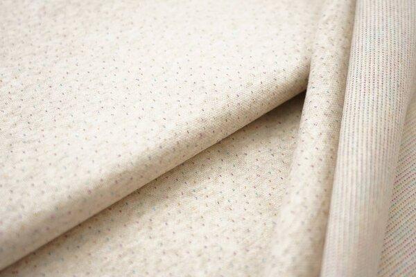 Jacquard-Sweat Mia pastell beige Melange kleine bunte Pünktchen Lurex Glitzer