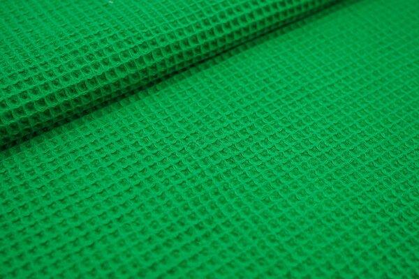 Waffelpiqué Waffelstoff uni grün Baumwollstoff mit Waffelmuster