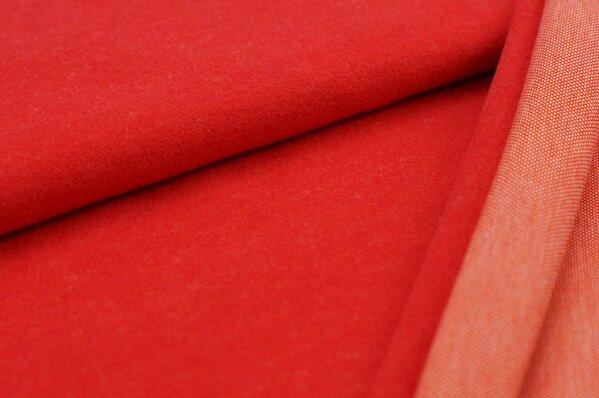 Kuschel Jacquard-Sweat Max Uni rot mit orange
