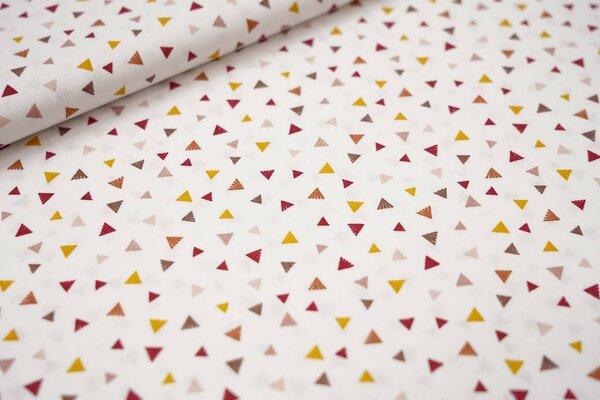 Baumwollstoff bunte Dreiecke creme / senf / rosa / rot / braun