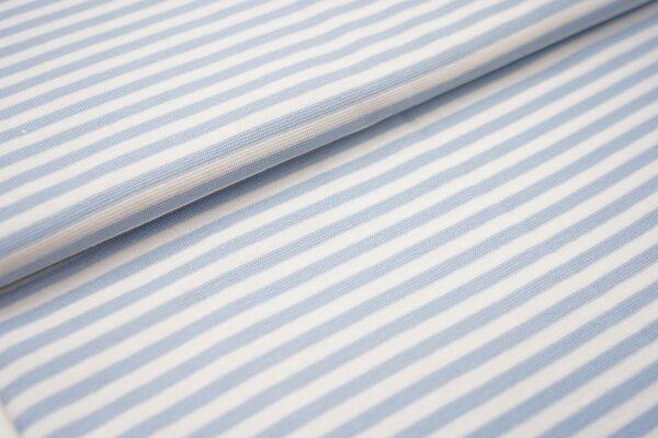 Ringelbündchen glatt Streifen weiss / hellblau