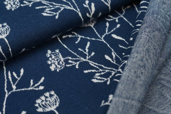 Jacquard-Sweat Ben lange off white Blumen auf navy blau