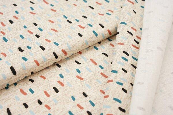 Baumwoll-Sweat Swafing Strich-Muster beige meliert / hellblau / petrol / altrosa / schwarz