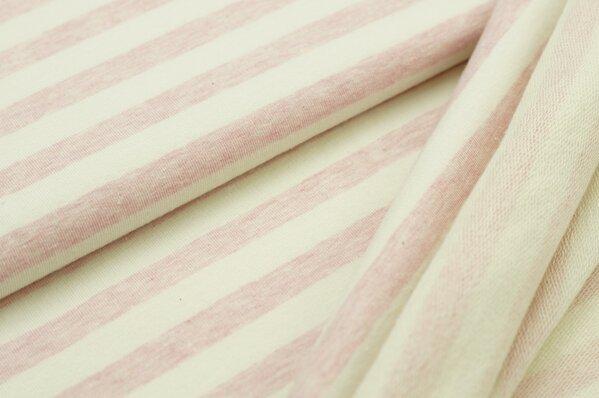 XXL Baumwollsweat Maya Melange Streifen breit pastell rosa und off white