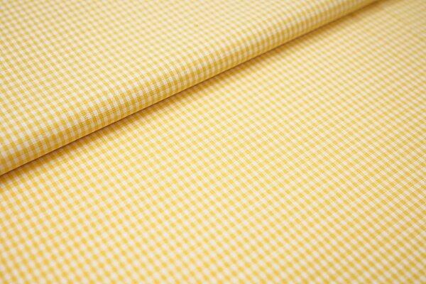 Baumwollstoff Baumwolle vichykaro Karomuster sehr klein kariert weiß / gelb