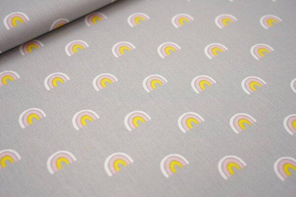 Baumwolle Regenbögen silbergrau / weiß / rosa / gelb Regenbogen