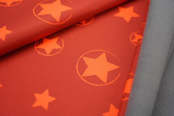 Softshell-Stoff neon Sterne im Kreis orange rostrot mit grauer Innenseite