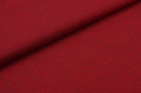 Baumwoll-Jersey uni dunkelrot mit grau meliert