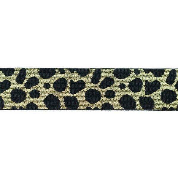 Breites Gummiband Leopard dunkelblau mit Glitzer in hell gold 40 mm