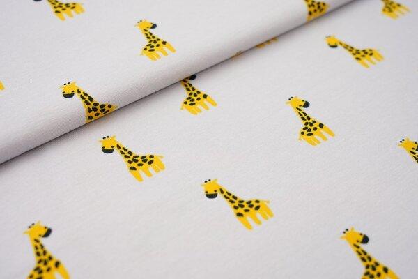 Baumwoll-Jersey Giraffen auf hellgrau
