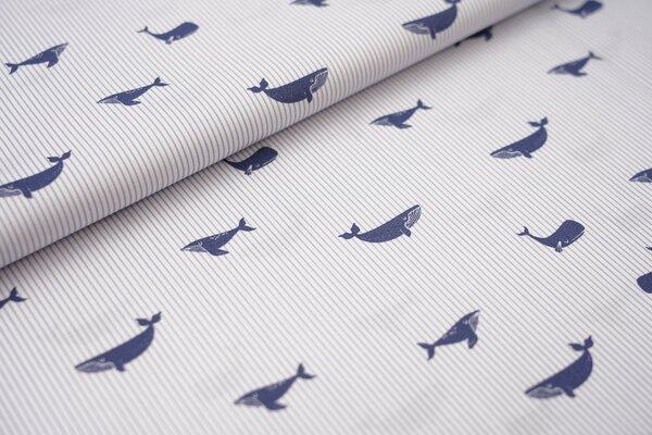 Baumwolle Wale auf schmalen Streifen weiß / blau maritim