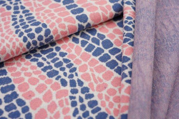Jacquard-Jersey Schlangenhaut Design off white / taupe blau / koralle