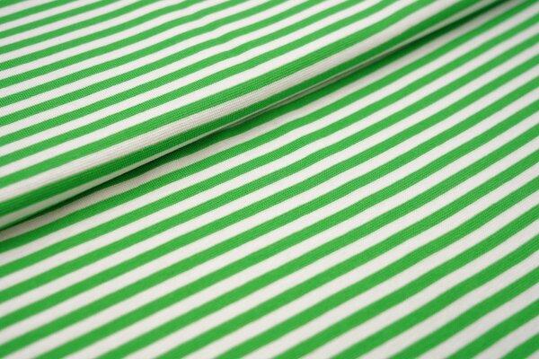 Ringelbündchen glatt Streifen weiss / limettengrün