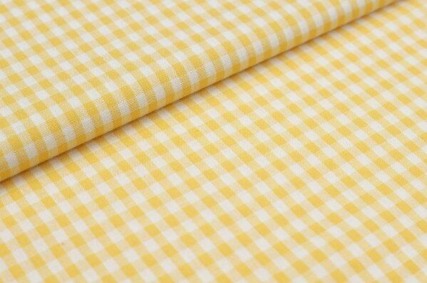 Baumwollstoff Baumwolle Karomuster klein kariert gelb / weiß