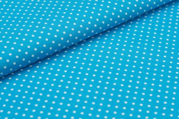 Baumwollstoff Baumwolle kleine Punkte türkis / weiß