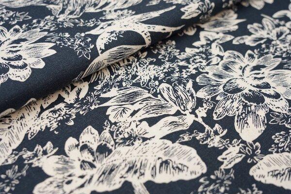Viskose-Leinen Stoff Blumen Blätter Vögel navy dunkelblau / creme weiß