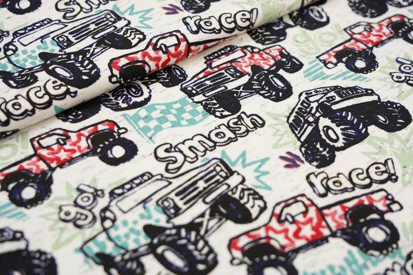 Baumwoll-Jersey Monster Trucks Autos auf weiß meliert