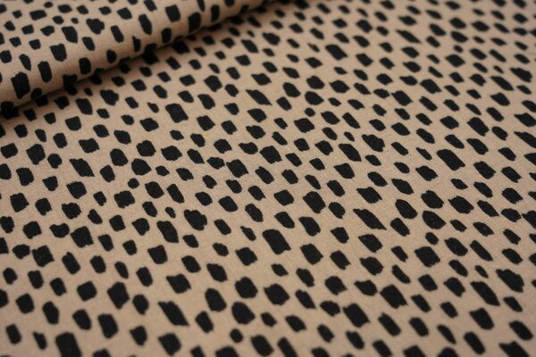 Musselin Stoff Double Gauze Kästchen-Muster Striche sand beige / schwarz
