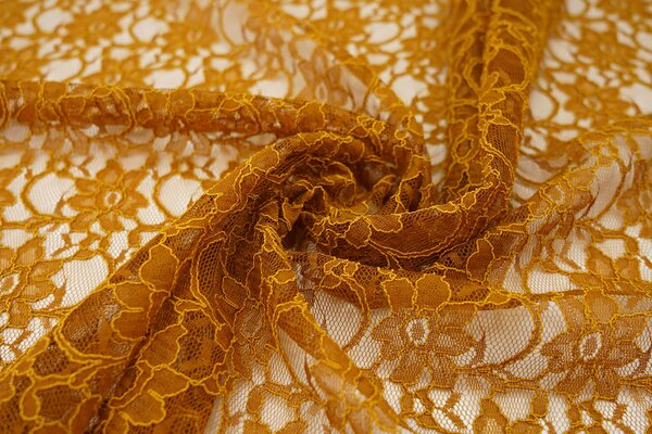 Elastische Spitze mit Blumen-Muster rost senf