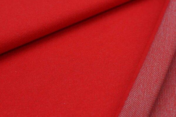 Jacquard-Sweat Ben rot Uni mit off white und eisblauer Rückseite