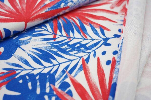 Baumwoll-Sweat Digitaldruck Farne Blätter Punkte off white / blau / koralle rot