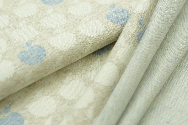 Jacquard-Sweat Mia off white und jeansblaue Äpfel auf pastell beige Melange