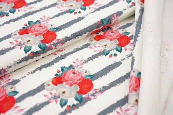 Traumbeere Baumwoll-Sweat Digitaldruck Blumen rot auf Streifen off white / grau