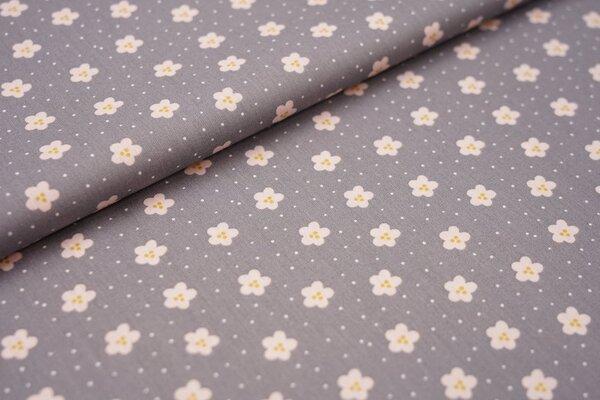 Baumwolle Blumen und Punkte dunkelgrau / hellrosa / weiß / senf ocker