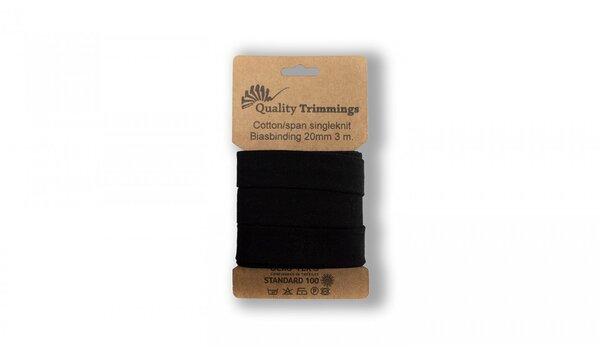 3 m Jersey Schrägband uni schwarz 20 mm breit