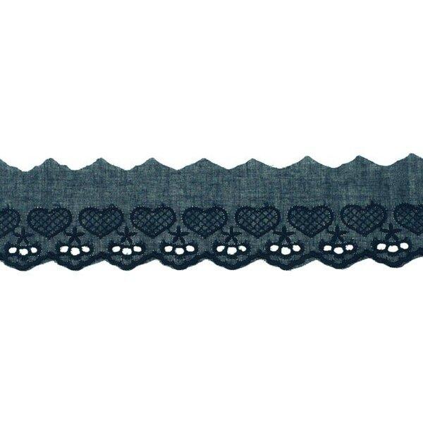 Baumwoll Spitze mit Herzen und Sternen dunkelblau Spitzenbordüre Borte