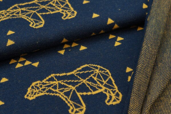 Jacquard-Sweat Ben senf Eisbären und Dreiecke auf navy blau