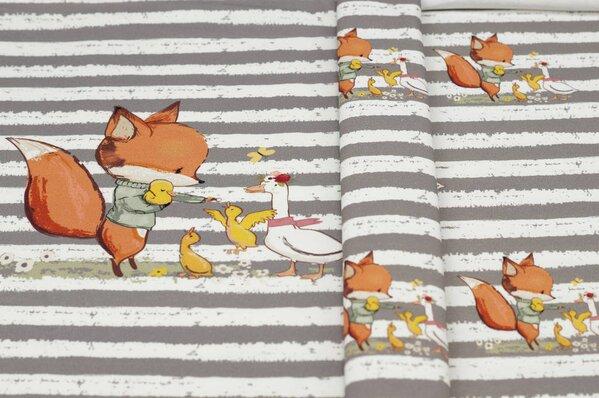 Panel Baumwoll-Jersey Fuchs & Gans / Streifen schlamm / off white Digitaldruck