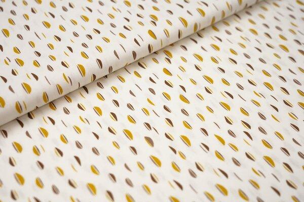 Baumwolle Ellipsen Muster Halbkreise weiß / senf / braun / schokobraun