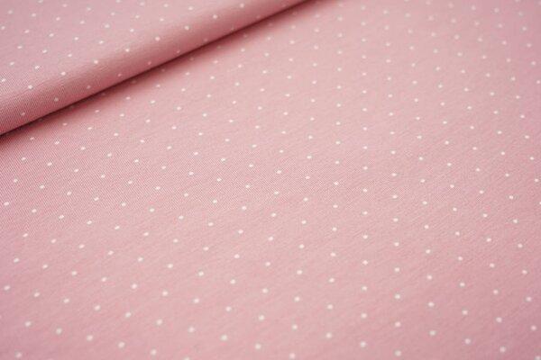 Baumwoll-Jersey weiße Mini Punkte auf pastell lachs rosa
