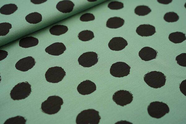 Baumwoll-Jersey große schwarze Punkte auf altgrün